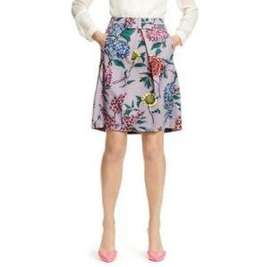 Boden   Twead Lilac Floral Bird Mini Skirt